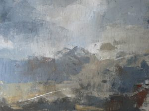 Oil on canvas of a landscape in blues and greys