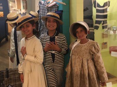 Girls dressing up in period costume