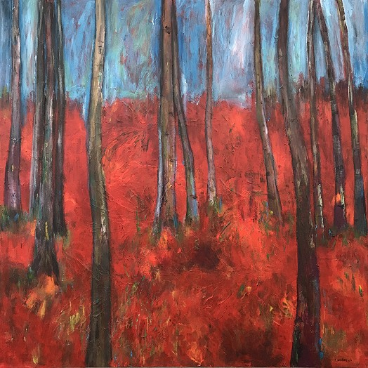 Artistic painting of trees in a wood, orange leaves form the ground with a clear blue sky