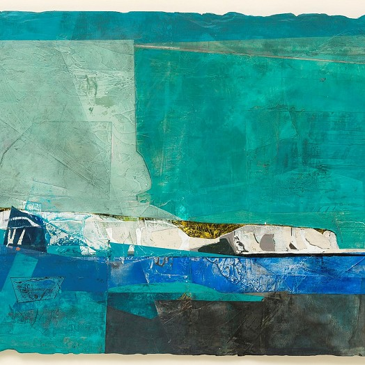 Abstract painting of blues and greens to form a coastal landscape