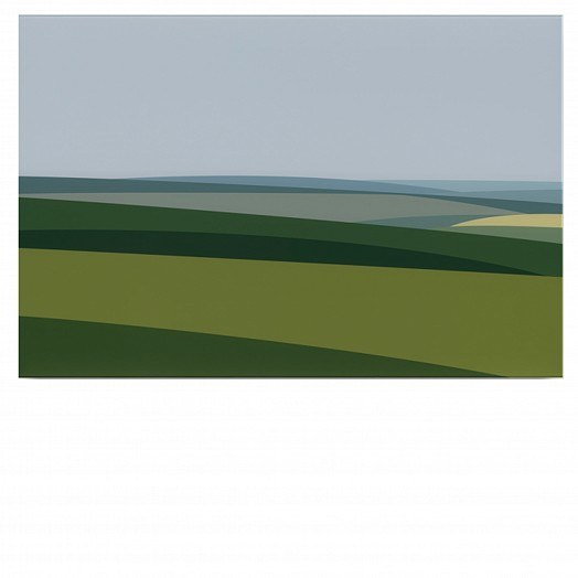 A simple art piece of greens to represent rolling fields against a blue sky