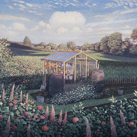A painting of a greenhouse in a field, blue summer skys and flowers all around