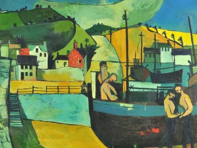 Painting of yellows, blues and greens to show men working on a boat at the docks