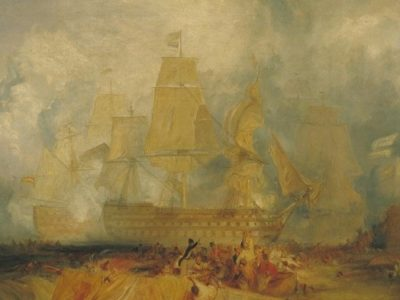 Turner painting of a tall ship beached on a shore against the sea