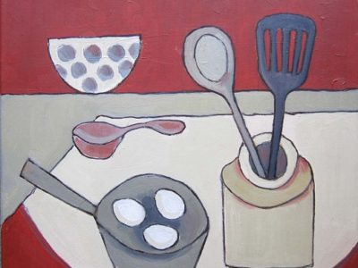 Abstract painting of kitchen utensils and eggs in a pan